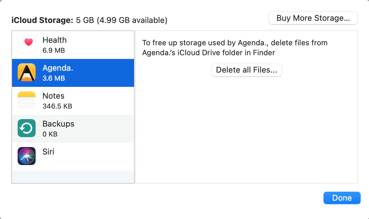 iCloud Storage 5 GB (4.99 GB available)