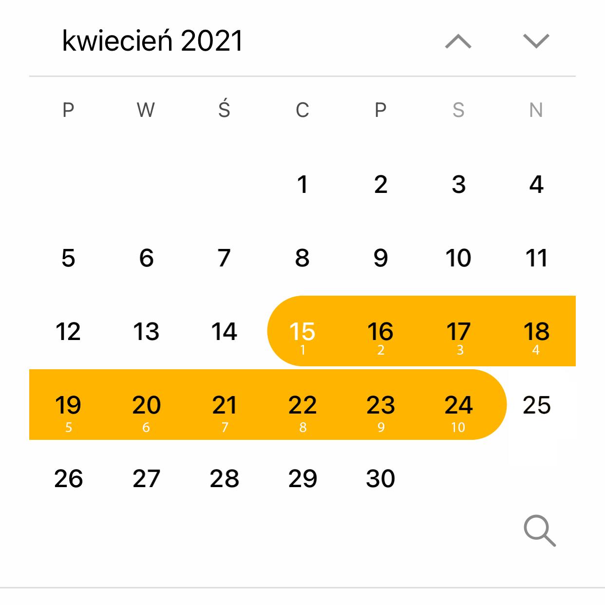 Agenda calendar next 10 today plus 9