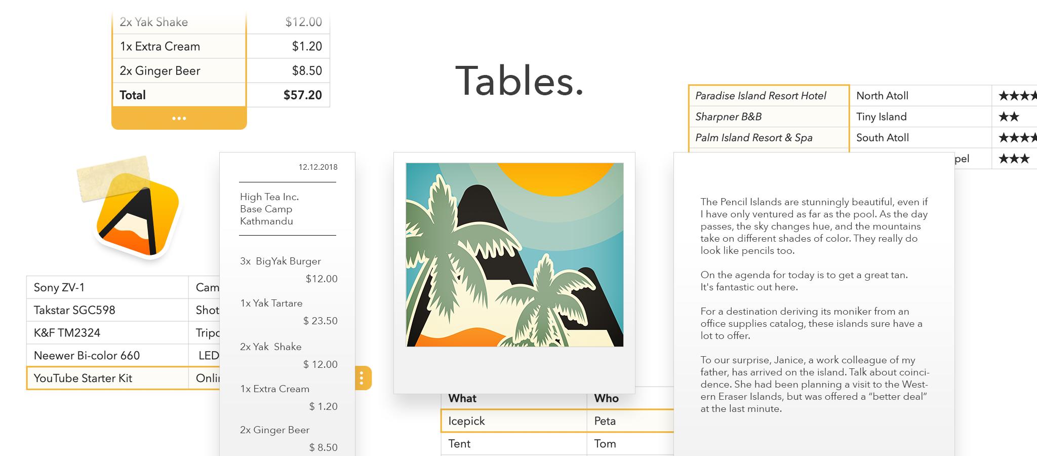Tables Header
